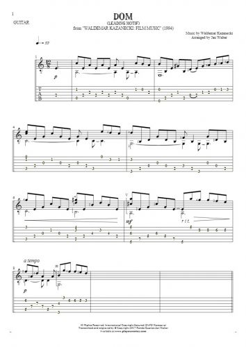 The House - Leading Motif - Notes and tablature for guitar solo (fingerstyle)