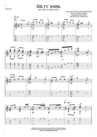 Yellow Angel - Notes and tablature for guitar - accompaniment