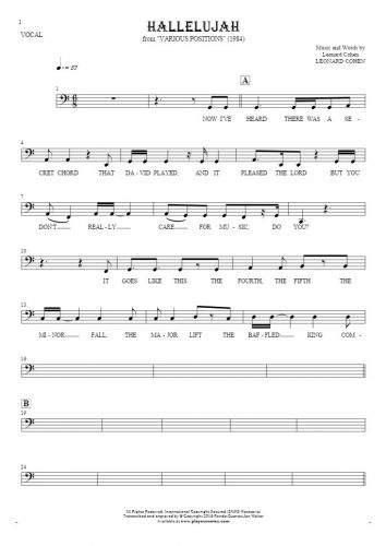 Hallelujah - Notes and lyrics-(bass clef) for vocal - melody line
