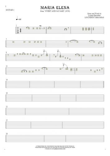 Maria Elena - Tablature for guitar - guitar 1 part