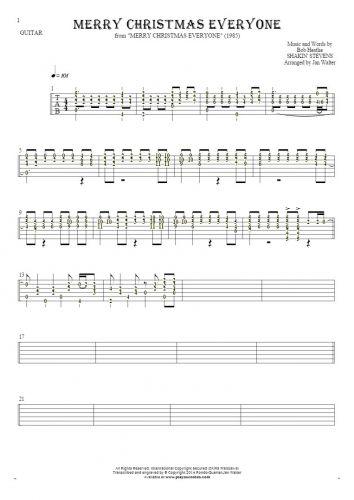Merry Christmas Everyone - Tabulatur (Rhythm Werte) für Gitarre solo (fingerstyle)