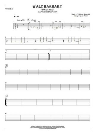 Walc Barbary (Noce i Dnie) - Tablature (rhythm values) for guitar - guitar 2 part