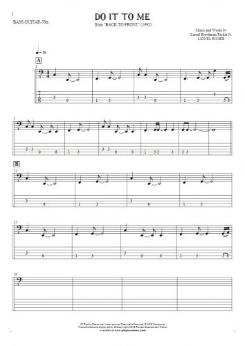 Do It To Me - Notes and tablature for bass guitar (5-str.)