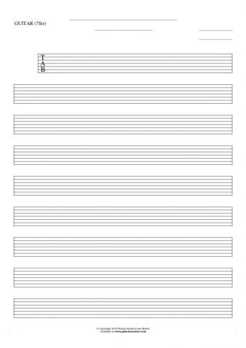 Free Blank Sheet Music - Tablature for guitar (7-str.)