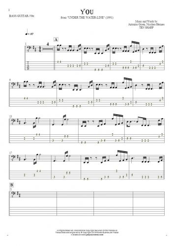 You - Notes and tablature for bass guitar (5-str.)
