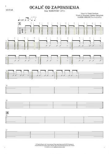Retten aus der Vergessenheit - Tabulatur (Rhythm. Werte) für Gitarre