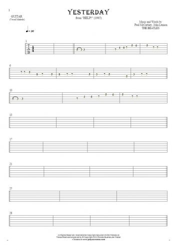 Yesterday - Tablature for guitar - melody line