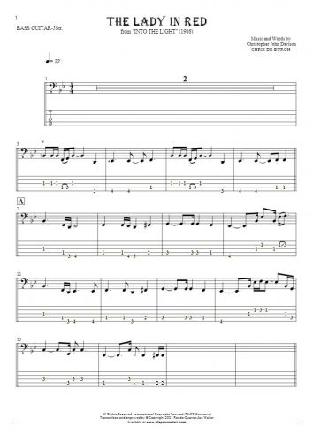 The Lady in Red - Notes and tablature for bass guitar (5-str.)