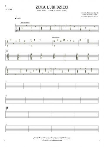 Zima lubi dzieci - Tablature for guitar - accompaniment