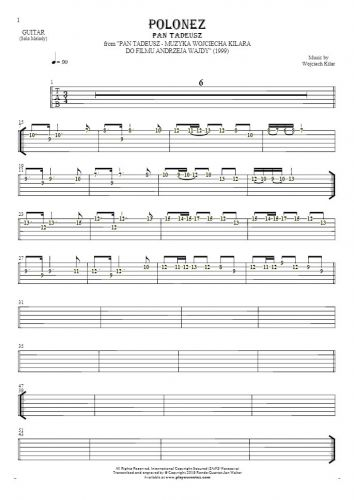 Polonez - Pan Tadeusz - Tablature (rhythm. values) for guitar - melody line