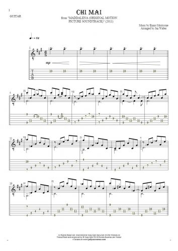 Chi Mai - Notes and tablature for guitar solo (fingerstyle)