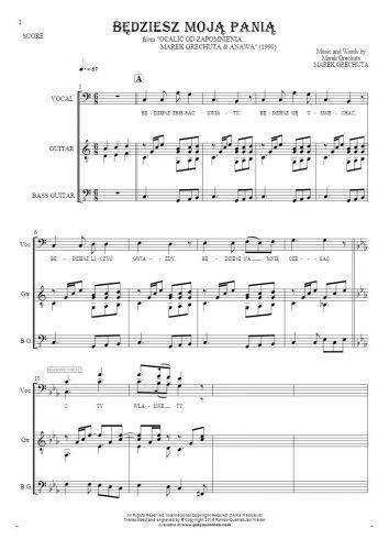 Będziesz moją panią - Score with vocal in bass clef
