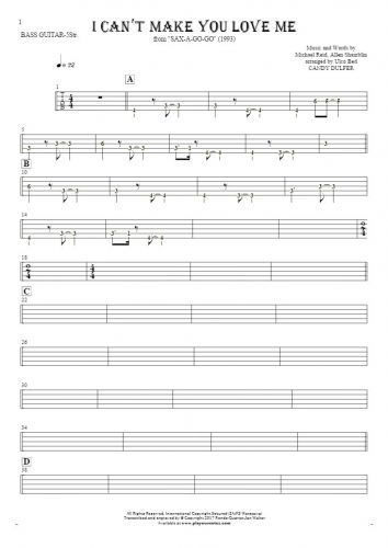 I Can't Make You Love Me - Tablature (rhythm. values) for bass guitar (5-str.)