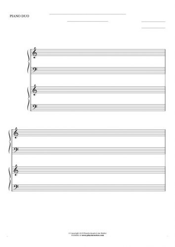 Free Blank Sheet Music - Notes for two pianos