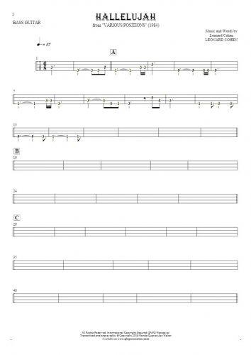 Alleluja - Tabulatura (wartości rytmiczne) na gitarę basową