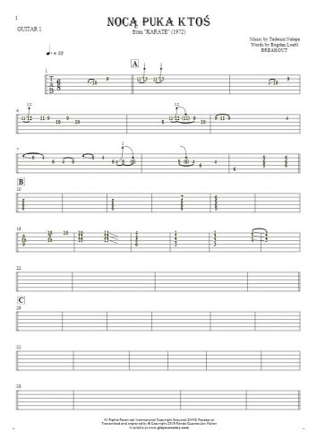 Somebody's Knocking At The Door At Nigh - Tablature for guitar - guitar 1 part