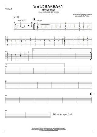Walc Barbary (Noce i Dnie) - Tablature (rhythm values) for guitar solo (fingerstyle)