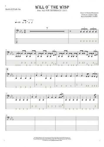 Will O' The Wisp - Notes and tablature for bass guitar (5-str.)