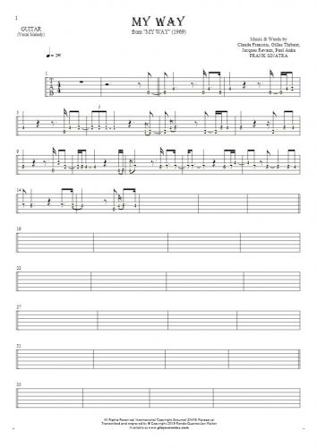 My Way - Tablature (rhythm. values) for guitar - melody line