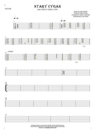 The old Gipsy - Tablature for guitar