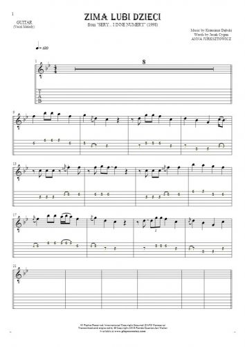 Zima lubi dzieci - Notes and tablature for guitar - melody line