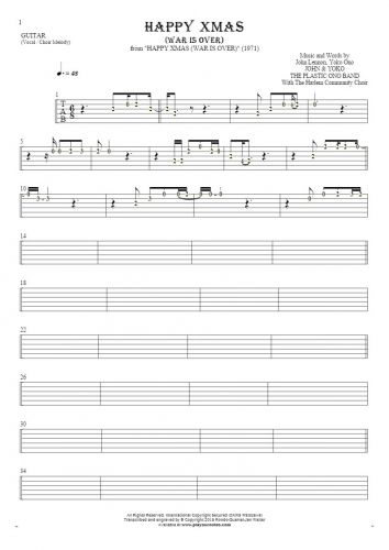 Happy Xmas (War Is Over) - Tablature (rhythm values) for guitar