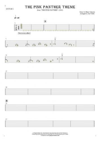 The Pink Panther Theme - Tabulatura na gitarę - partia gitary 1