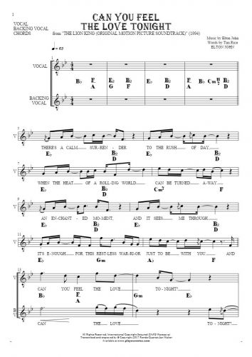 Can You Feel the Love Tonight - Notes, lyrics and chords for vocal with accompaniment