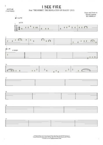 I See Fire - Tablature for guitar - melody line