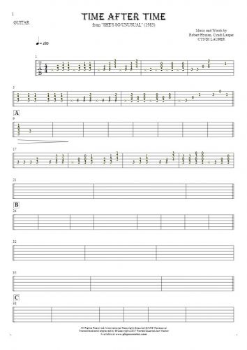 Time After Time - Tablature for guitar