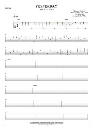 Yesterday - Tablature for guitar solo (fingerstyle)