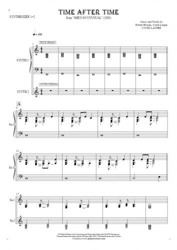 Time After Time - Cyndi Lauper - Sheet music and guitar tablatures ...