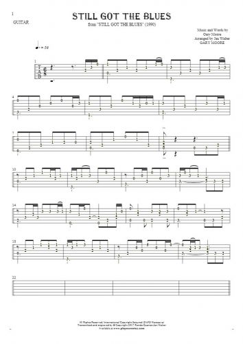 Still Got The Blues - Tablature (rhythm. values) for guitar solo (fingerstyle)