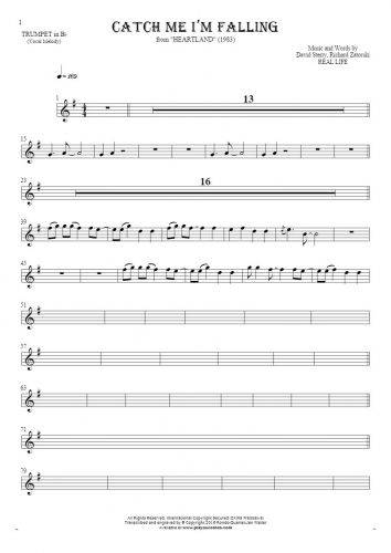 Catch Me I'm Falling - Notes for trumpet - melody line