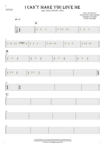 I Can't Make You Love Me - Tablature for guitar