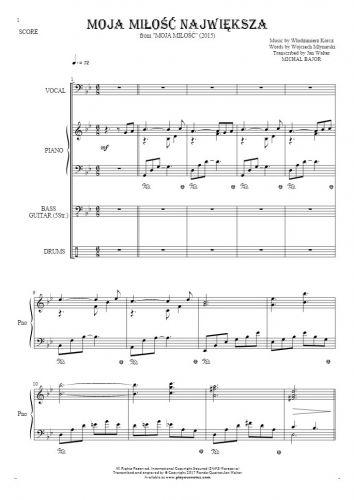 Moja miłość największa - Score with vocal in bass clef