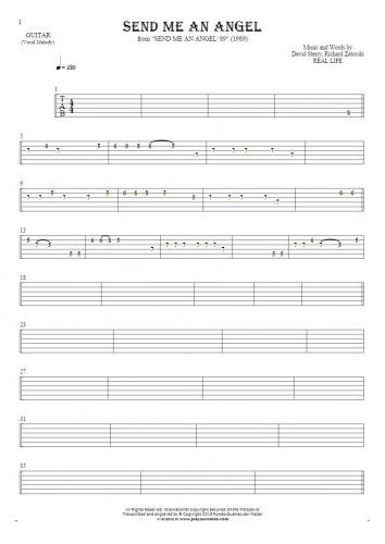 Send Me An Angel - Tablature for guitar - melody line