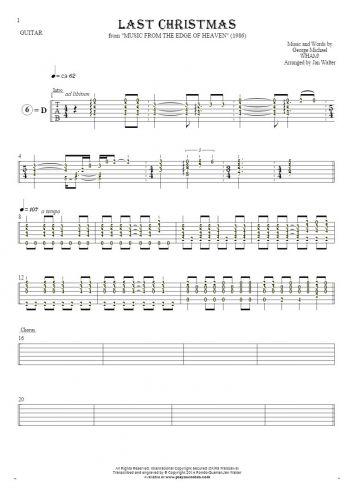 Last Christmas - Tablature (rhythm values) for guitar solo (fingerstyle)