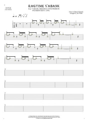 Ragtime Vabank - Tablature (rhythm values) for guitar - melody line