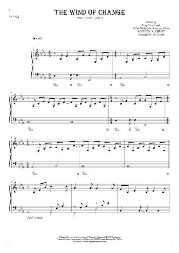 The Wind of Change - Notes for piano solo