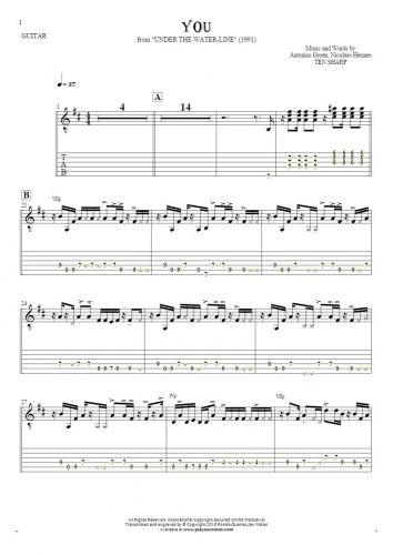 You - Notes and tablature for guitar