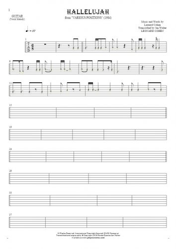 Hallelujah - Tablature (rhythm. values) for guitar - melody line
