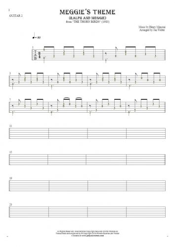 Meggie's Theme (Ralph and Meggie) - Tablature (rhythm values) for guitar - guitar 2 part