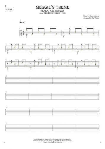 Meggie's Theme (Ralph and Meggie) - Tabulatura (wartości rytmiczne) na gitarę - partia gitary 2