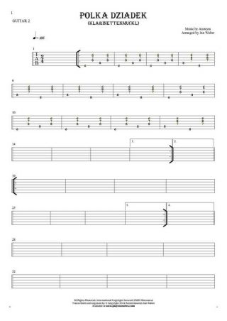 Polka Dziadek (Klarinettenmuckl) - Tablature for guitar - guitar 2 part
