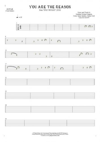 You Are The Reason - Tablature for guitar - melody line