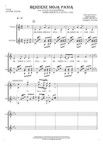 Będziesz moją panią - Notes and lyrics for vocal with guitar accompaniment