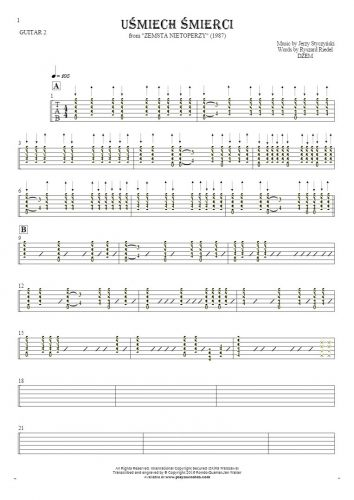 Smile of Death - Tablature for guitar - guitar 2 part