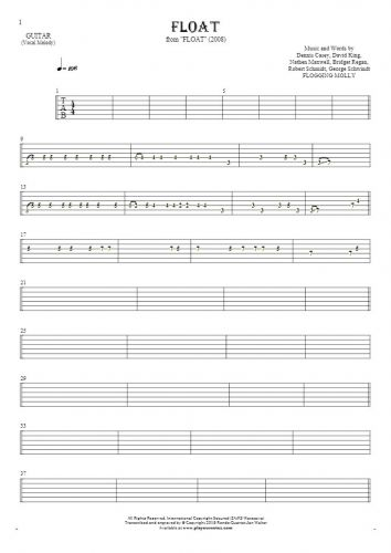 Float - Tablature for guitar - melody line