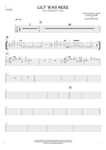 Lily Was Here - Tablature (rhythm values) for guitar
